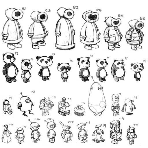 Character designs for Mind N Seek game