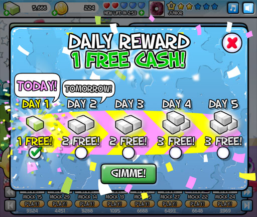 ToyRun daily rewards